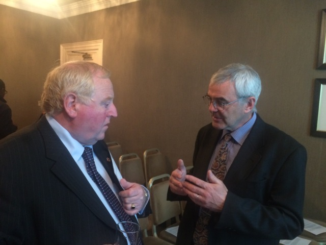 Eaman Scanlan TD speaks to Dr Carroll O Dolan before the launch of the Concerned Health Professionals